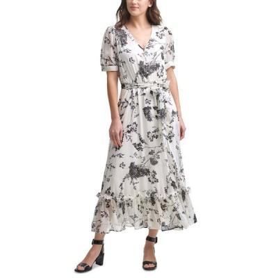 カルバンクライン ワンピース トップス レディース Floral-Print Chiffon Maxi Dress Cream/Black