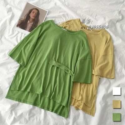 Tシャツ クルーネック 不規則裾 お洒落 半袖Tシャツ レディース 無地Tシャツ 夏 ユニックデザイン 夏Tシャツ サマーTシャツ