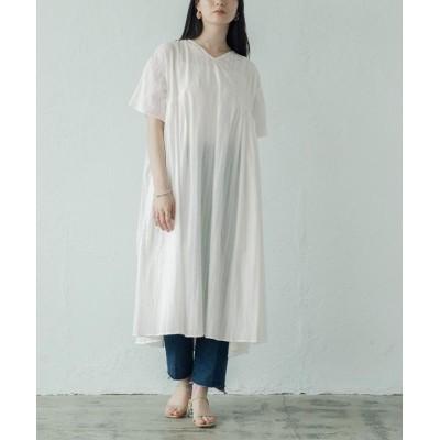 【ミエット】 ボリュームタック刺繍ワンピース レディース オフホワイト F miette