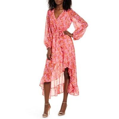 ヴェロモーダ ワンピース トップス レディース Anneline Long Sleeve High/Low Faux Wrap Dress Sea Pink