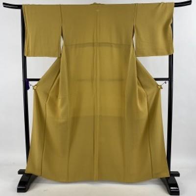 色無地 美品 優品 一つ紋 縮緬 からし色 袷 身丈164.5cm 裄丈69cm L 正絹 中古