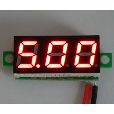 ミニサイズ デジタル電圧計 赤【簡単2線式/別電源不要】