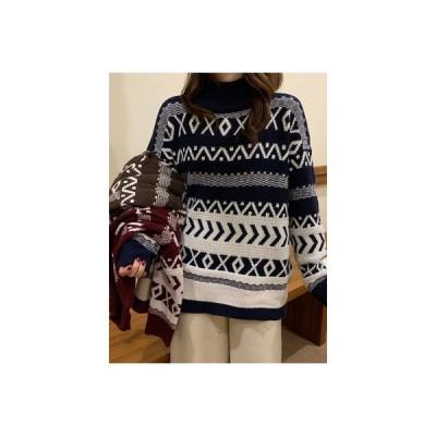 【送料無料】オーバーサイズ 風 ルース セミハイ襟 手厚い アウトドア ヘッジ ニットのセーター 女 新しい   364331_A63981-9478835
