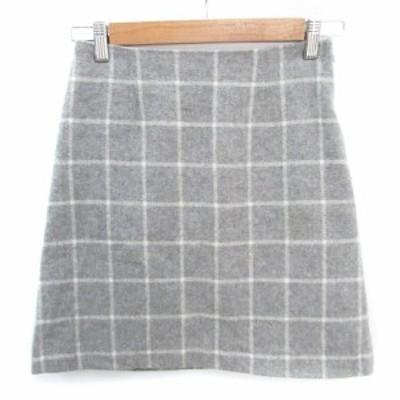 【中古】ナチュラルビューティーベーシック スカート 台形 ひざ丈 ウィンドウペン柄 XS グレー 白 /FF39 レディース