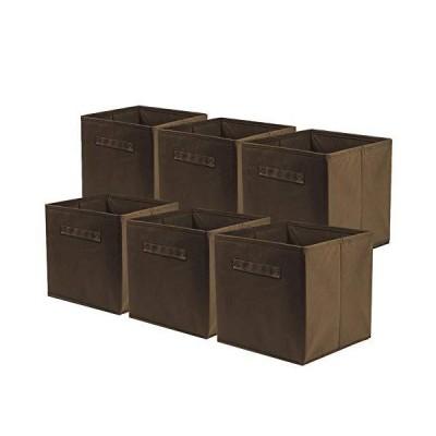 6点セット 折り畳み可能な不織布の収納ボックス 収納キューブケース バスケットビンオーガナイザーコンテナ引き出し,小物 整理 収納ケース, ブラウン