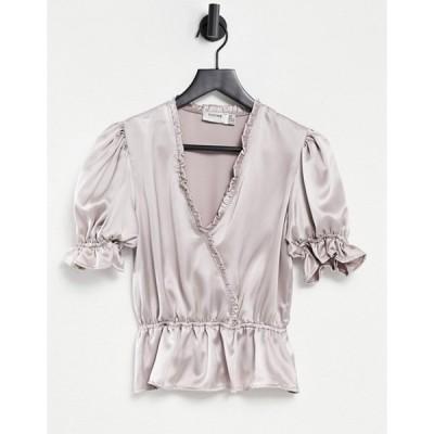 フラウンスロンドン レディース シャツ トップス Flounce wrap front blouse with puff sleeves and ruffle detailing in metallic silver