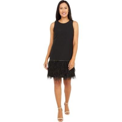 タハリ Tahari by ASL レディース パーティードレス カクテルドレス ノースリーブ Sleeveless Stretch Crepe Cocktail Dress with Feather Hemline Black