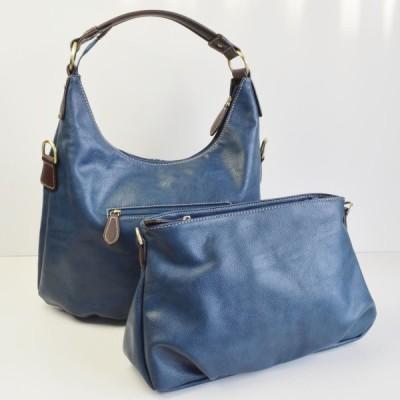 ショルダーバッグ トートバッグ ハンドバッグ 3Wayバッグ ポーチ付 2点セット ネイビー No.99251 Shoulder handbags