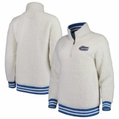 Boxercraft ボクサークラフト スポーツ用品  Florida Gators Womens Cream Varsity Banded Sherpa Quarter-Zip Pullover J