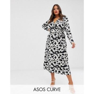 エイソス ASOS Curve レディース ワンピース ワンピース・ドレス ASOS DESIGN Curve wrap maxi dress in mono splodge print Mono splodge