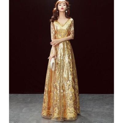ロングドレス formal dress パーティードレス★袖あり セクシー お呼ばれ ウェディングドレス  披露宴 二次会 結婚式  着痩せ 20代30代40代