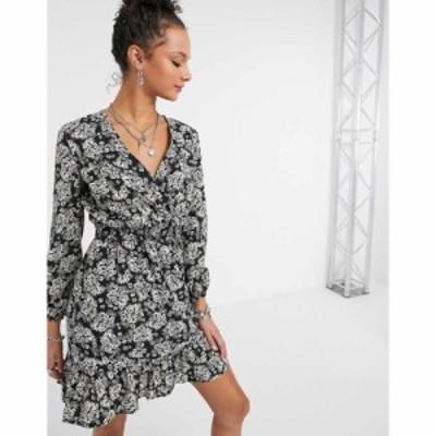 ニュールック New Look レディース ワンピース ラップドレス ワンピース・ドレス wrap frill dress in floral フローラル