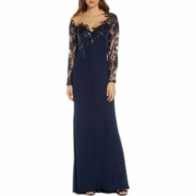タダシショージ TADASHI SHOJI レディース パーティードレス ワンピース・ドレス Sequin and Lace Long Sleeve Evening Gown Navy