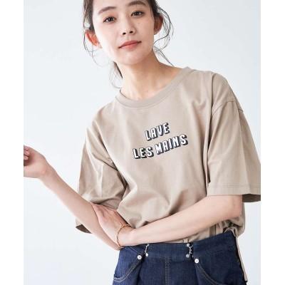 【アバハウスマヴィ】 ロゴTシャツ レディース ベージュ F abahouse mavie
