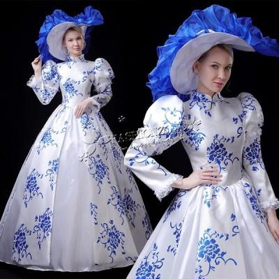 豪華な女王 ロングドレス ステージ衣装人気お姫様ドレス プリンセスライン 公爵夫人 宮廷服 髪飾り ティアラ プリンセスラインお姫様ドレス