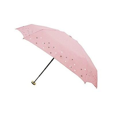 ビーサニー 折りたたみ傘 晴雨兼用 リトルハート ピンク 6本骨 50cm グラスファイバー UVカット90%以上 82275