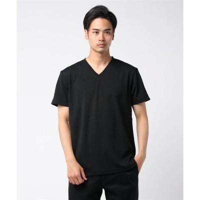 tシャツ Tシャツ フクレジャガードへリンボン柄半袖VネックTシャツカットソー
