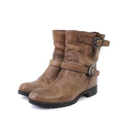 【中古】プラダ PRADA ショートブーツ エンジニア ストラップ レザー 茶 ブラウン 37 靴  レディース 【ベクトル 古着】
