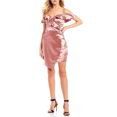 I.N.サンフランシスコ レディース ワンピース トップス Off-The-Shoulder Ruffled Satin Asymmetric Wrap Dress
