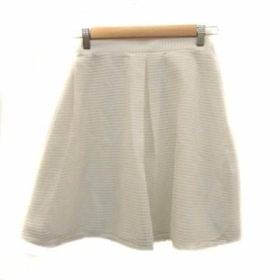 【中古】レイビームス Ray Beams スカート フレア ひざ丈 0 白 ホワイト /HO21 レディース