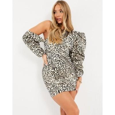エイソス レディース ワンピース トップス ASOS DESIGN super sleeve asymmetric mini dress in animal jacquard