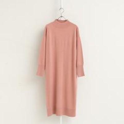アフタヌーンティーリビングフレンチウール裾ボタンハイネックワンピース/ピンク/M