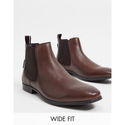 ベンシャーマン メンズ ブーツ・レインブーツ シューズ Ben Sherman wide fit chelsea boots in brown leather