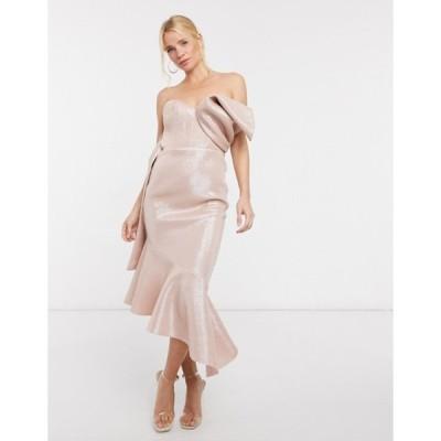 エイソス レディース ワンピース トップス ASOS DESIGN bonded glitter bow detail asymmetric midi dress in pink