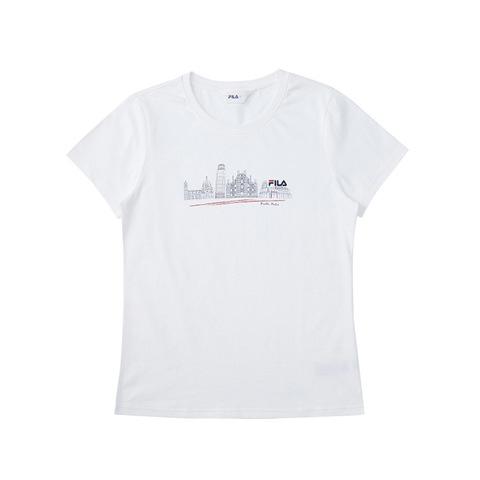 FILA 女圓領T恤-白色 5TEV-1522-WT