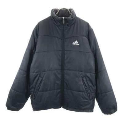 アディダス ロゴ刺繍 中綿 ジャケット M 黒 adidas メンズ 古着 201117 【Pdown】