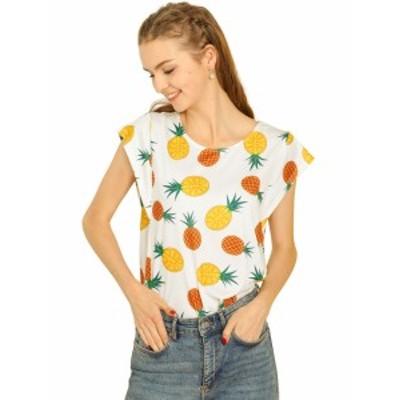 Allegra K tシャツ ブラウス トップス キャップスリーブ 半袖 パイナップル柄 レディース ホワイト S