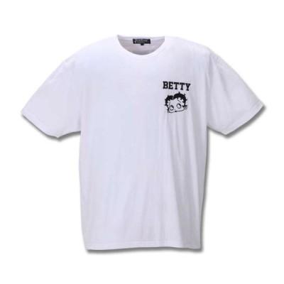 大きいサイズ メンズ BETTY BOOP 刺繍プリント半袖Tシャツ オフホワイト 2020年春夏新作