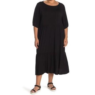 ウエスト ケイ レディース ワンピース トップス Knit Tiered Midi Dress BLACK
