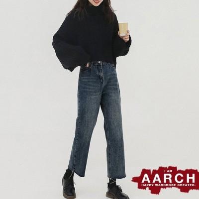 大きいサイズ デニム デニムパンツ レディース ファッション ぽっちゃり おおきいサイズ あり 切りっぱなし フレイドヘム ルーズフィット L LL 3L 4L 5L 秋冬