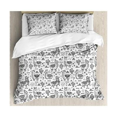 Llama布団カバセットby Ambesonne、抽象三角形with DoodleスタイルAlpacasモノクロデザイン漫画のパタン、装飾寝具セットw
