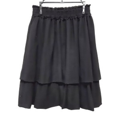 トゥービーシック TO BE CHIC スカート サイズ40 M レディース 美品 - 黒 ひざ丈/フリル【還元祭対象】【中古】20210324
