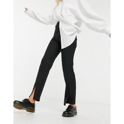 エイソス レディース カジュアルパンツ ボトムス ASOS DESIGN slim high rise pants with split hem in black