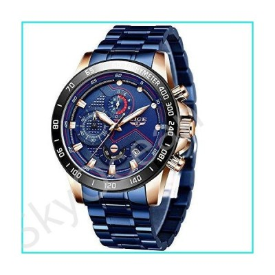 LIGE Watches Mens Fashion Chronograph Waterproof Quartz Watch Men Sports Full Steel Watches【並行輸入品】