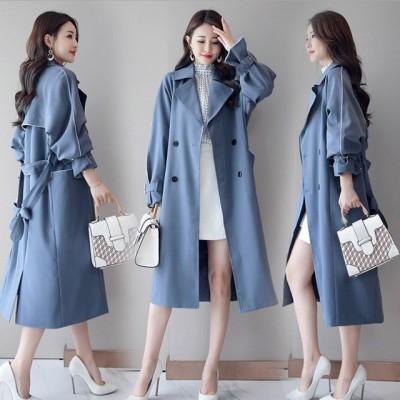 ロングコート トレンチコート レディース ブルー ブラック 通勤 OL コート アウター 大きいサイズ 春 秋 韓国風 スプリングチコート 30代 40代
