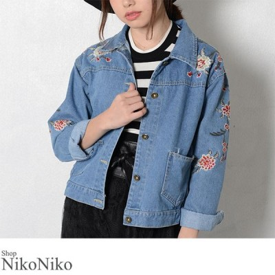 刺繍デニムジャケット 即納 アウター デニム ジャケット 刺繍 花柄 フラワー レディース2500円以上30%オフクーポン