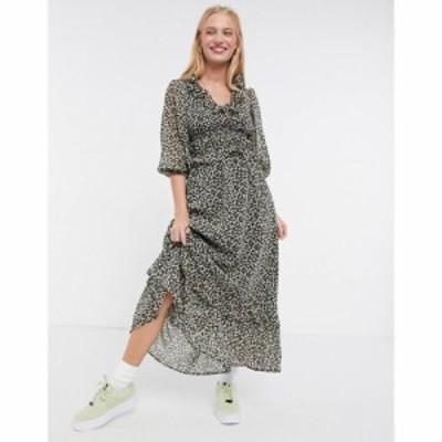エイソス ASOS DESIGN レディース ワンピース ワンピース・ドレス button front maxi dress in ditsy floral print フローラル