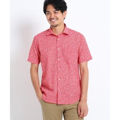 (TAKEO KIKUCHI/タケオキクチ)【Sサイズ~】小花プリント半袖サッカーシャツ/メンズ レッド(262)
