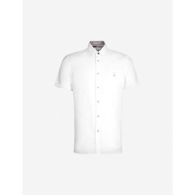 テッドベーカー TED BAKER メンズ 半袖シャツ トップス Clion regular-fit cotton and linen-blend shirt WHITE