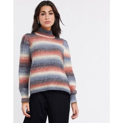 ヴィラ レディース ニット&セーター アウター Vila high neck sweater in stripe Stripes combo