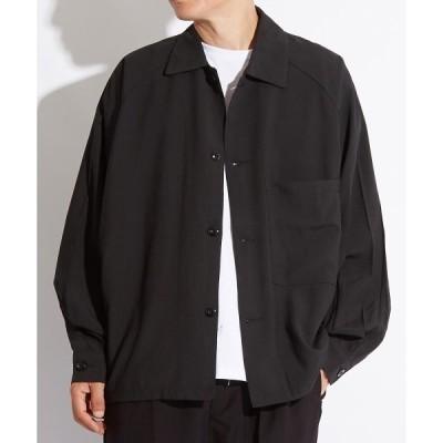 シャツ ブラウス ポリ素材 ビッグシルエット ラグラン 長袖シャツ オーバーサイズ
