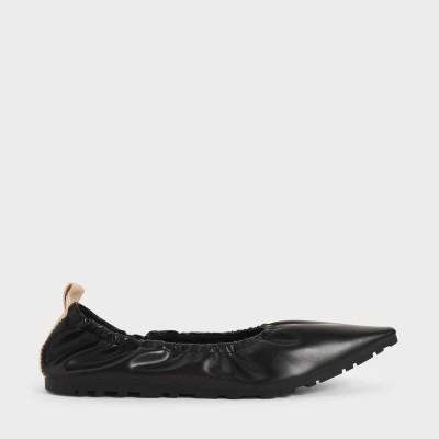 ルーシュド バレリーナフラット / Ruched Ballerina Flats (Black)