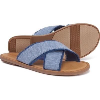 トムス TOMS レディース サンダル・ミュール シューズ・靴 viv textured chambray sandals Blue