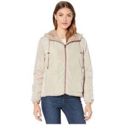 デイランバイトゥルーグリット レディース コート アウター Solid Faux Fur Love Reversible Jacket with Matching Lining Teddy Brown