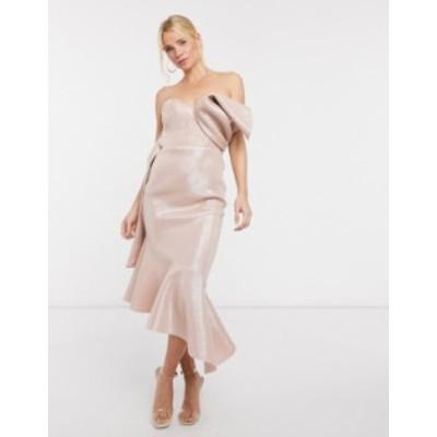 エイソス レディース ワンピース トップス ASOS DESIGN bonded glitter bow detail asymmetric midi dress in pink Pink