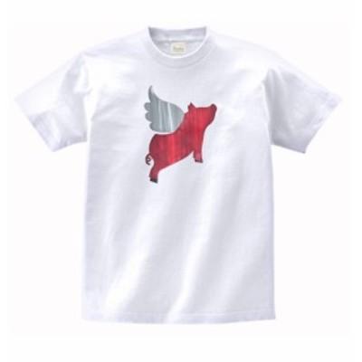 動物 生き物 Tシャツ 天使の豚 白